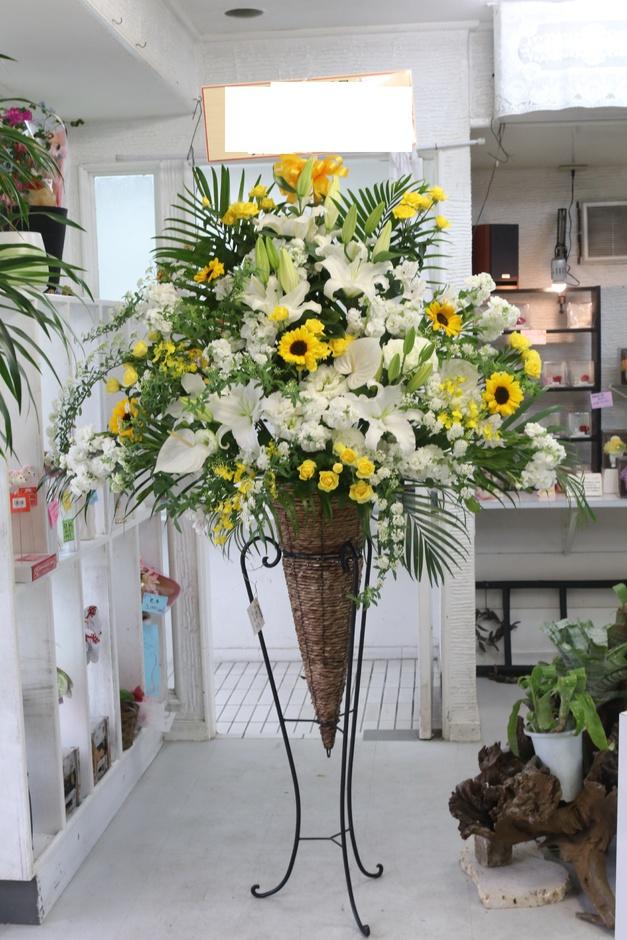 白・黄色系スタンド花