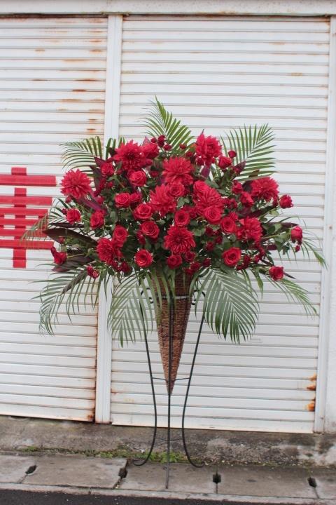 赤バラ+ダリア